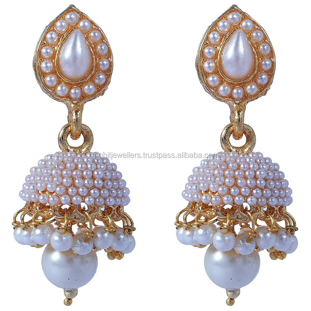 gold plated with white parl kundan jhumka
