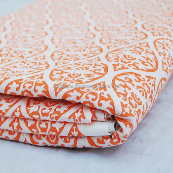 Handmade Indian Orange Anokhi Printed Running Natural Cotton Voile Fabric