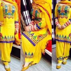 Indian Yellow Cotton Patiala Suit