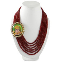 Ethnic Indian Bollywood Necklace Multi Strand Ruby Traditional Jewelry Gif For Women- BNS8053A