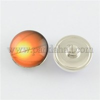 Brass Glass Snap Buttons, with Basketball Pattern, Flat RoundJeans Buttons, Platinum, SandyBrown SNAP-S001-09