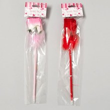 ROSE PEN W/FEATHER TRIM 2ASST RED/PINK 11.75IN VAL PB/HEADER #G87001