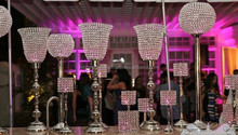 Crystal candelabra with crystal hurricane, Silver candelabra centerpiece