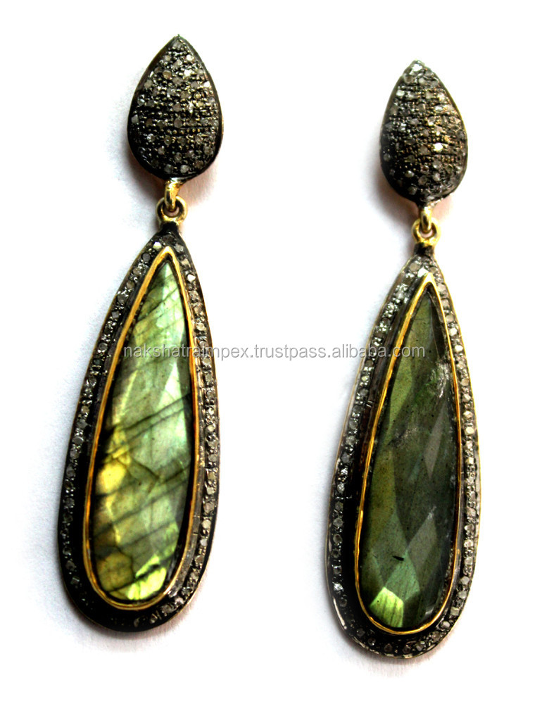 Labradorite Pear Faceted Diamond Studded Fashion 925 Sterling Silver Earrings Jewellery
