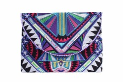 Deco Jaw Embroidered Clutch and Perfect Tablet Bag from Thailand - White