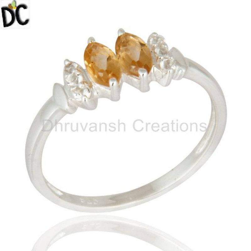 New Arrival Jaipur Fine Silver Rings White Topaz And Citrine Gemstone Rings Suppliers 925 Sterling Silver Jewelry