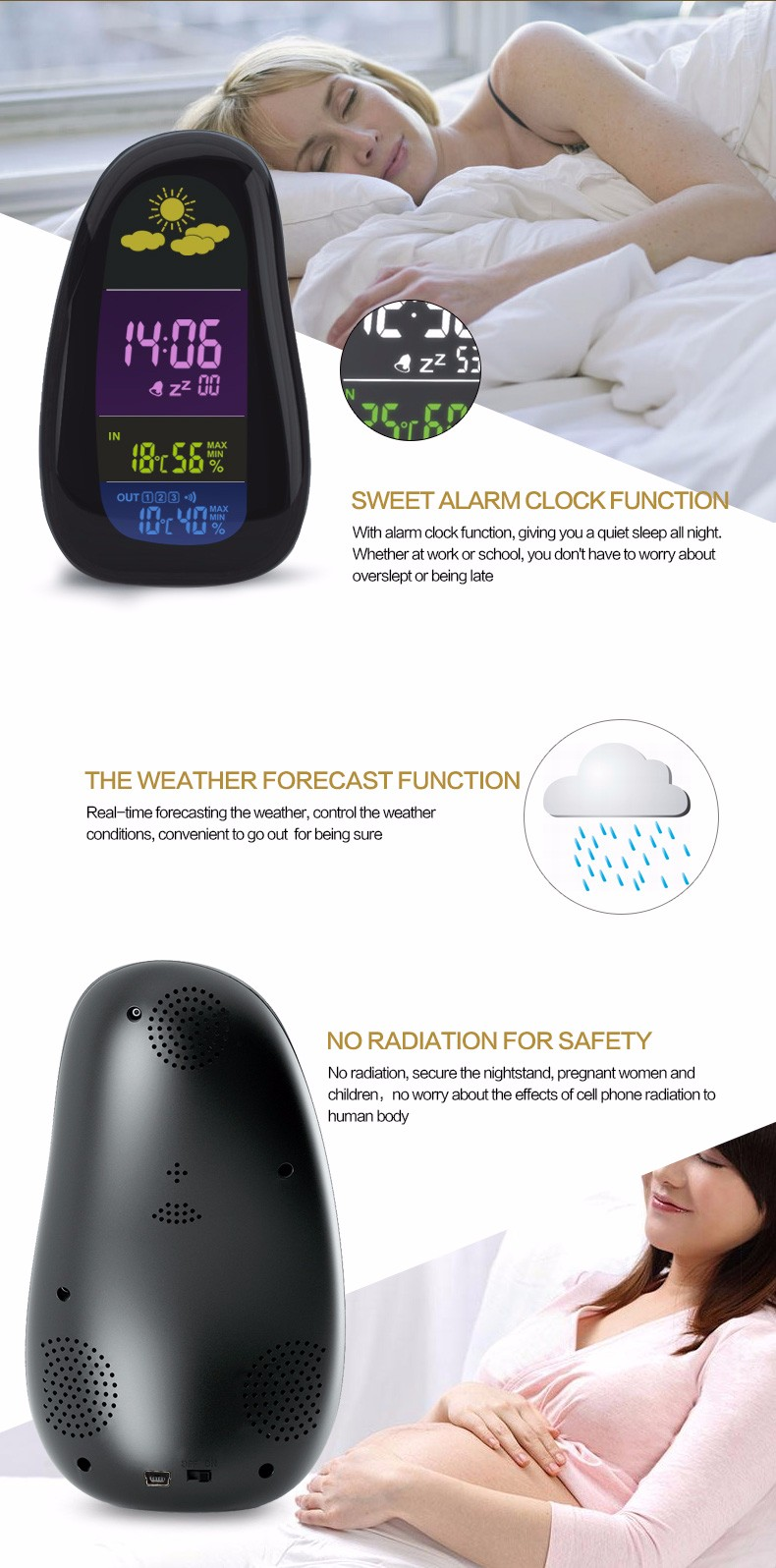 New type digital weather station clock, weather station wireless, thermometer hygrometer clock