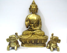 Metal Brass statue/carving idol/Figurines of lord Gautam Buddha + Two Elephant