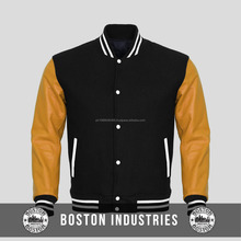 Custom Gold Leather Sleeves Black Wool Varsity Jacket Mens Varsiry Jacket