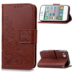 Imprint Flower Wallet Stand Leather Phone Cover for iPhone 4s 4 - Brown