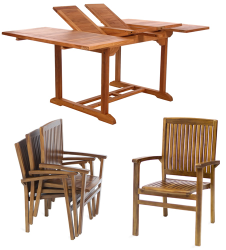 Teak table double extention with stacking chair garden sets furniture