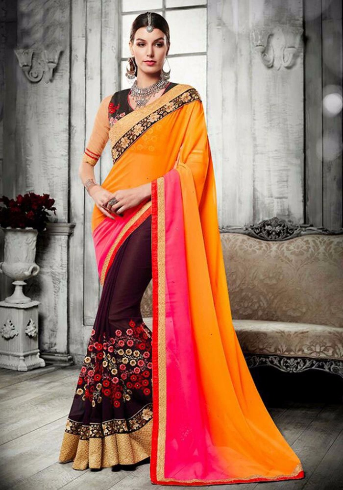 Multi color georgette embroidered saree