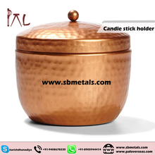 HAMMERED COPPER CANDLE JAR WITH LID