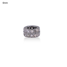 925 Sterling Silver Wheel Finding Jewelry Pave Diamond Spacer Rondelles Finding For Jewelry Making Indian Silver Jewelry