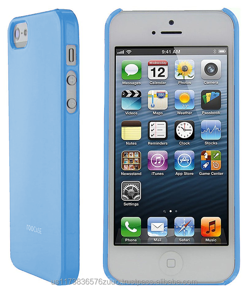 S1-G series Ultra slim shell case with polyurethane gloss coating for iPhone SE/5/5s roocase (Blue)