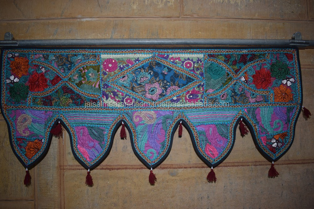 Indian Cotton Door Hanging Embroidered Handmade Vintage Toran Window Art Valance