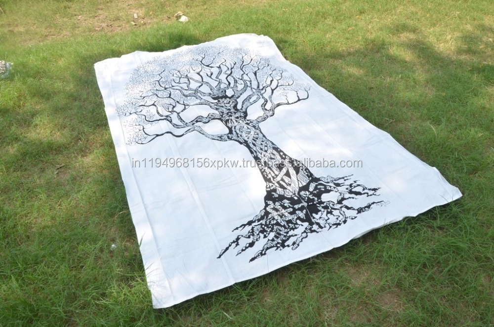 Tree Of Life Wall Hanging White Tapestry Wall Throw Decor Bedspread Hippie Tapestries
