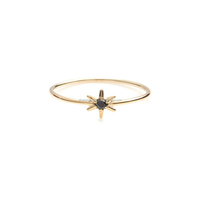 14kt Yellow Gold Black Diamond Solitaire Starburst Ring