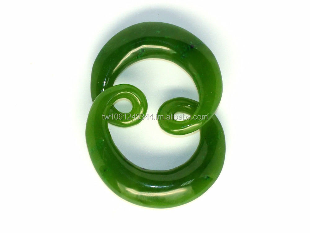 New Zealand Maori design Double Twist Pendant Taiwan Jade(Nature Green Nephrite)