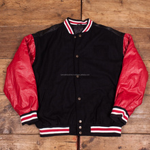 Customized scooter Chenille Patch logo Varsity Jackets\Vintage Black wool body with red PU leather sleeves Varsity Jacket