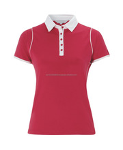 100% Cotton Custom Ladies Plain Pink Polo Shirt with White Collar and Trims