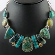 Marvelous Sweet !! Citrine_Stripped Onyx_Chrysocolla 925 Sterling Silver Necklace, Contemporary Silver Jewelry Wholesaler