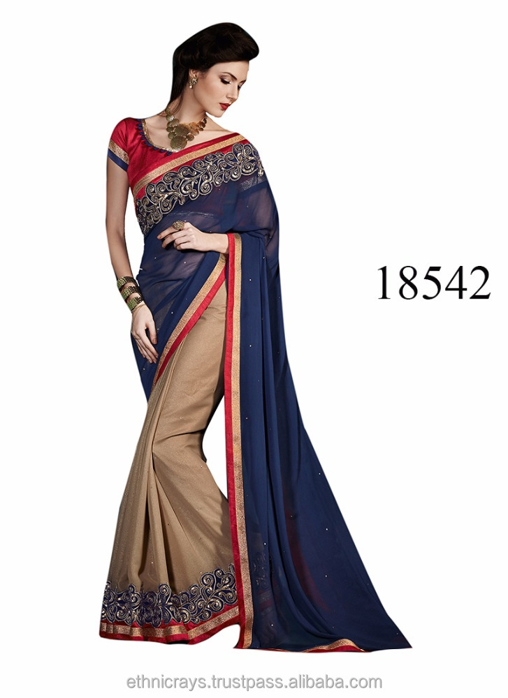Ethnicrays Chikoo & Blue Color Georgette Saree