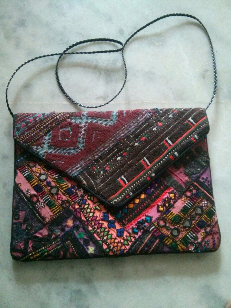 Indian Vintage Bag Multicolor Antique Patchwork Purse Embroidered Clutch Handbag