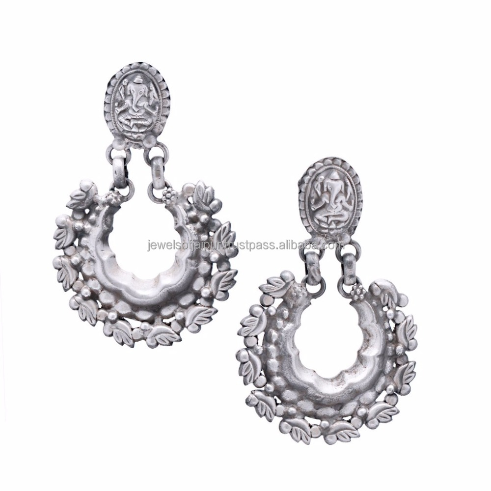 Lord Ganesha Design Oxidized Silver Dangle Earrings For Woman Jewelry