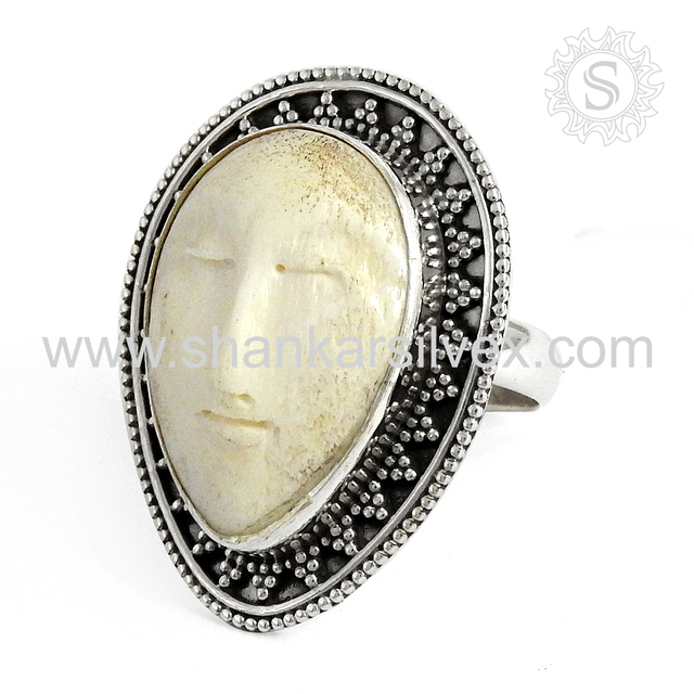 Aesthetic Moon Face Gemstone Silver Jewelry Ring Sterling 925 Silver Jewelry Supplier
