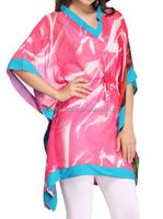Maxi Caftan, Plus Size, Kaftan, Bali Batik, Resort Wear, Coverup, Summer Dress, Maternity Dress/ Pink & Blue Half Sleeve kaftan