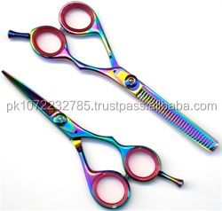 Matching Shears sets professional ladies saloon hair cutting scissors+thinning set titanium rainbow japanese steel made scissors