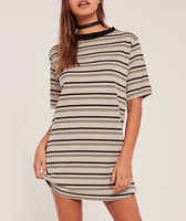 New Fashion Women Girl's Newest Style Top Quality Strip Casual 100% Cotton Tshirt Dresses Any Colour OEM