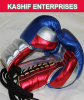 Mexican style laces up boxing gloves