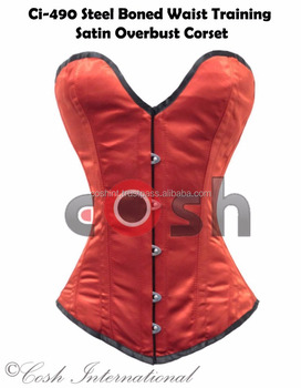 Overbust Red Color Satin Steel Boned Waist Training Corsets Supplier, Regular, Curvy, Standard, Short Corsets Manufacturer