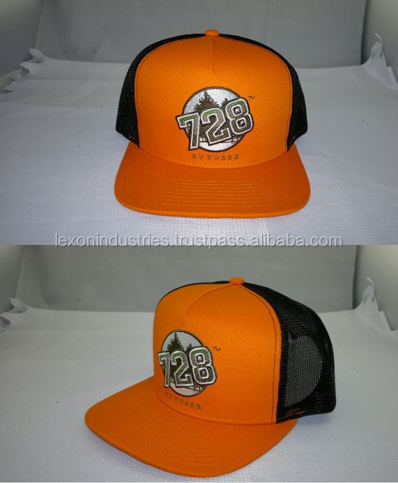 Mesh Cotton Orange and blank custom snap back trucker cap