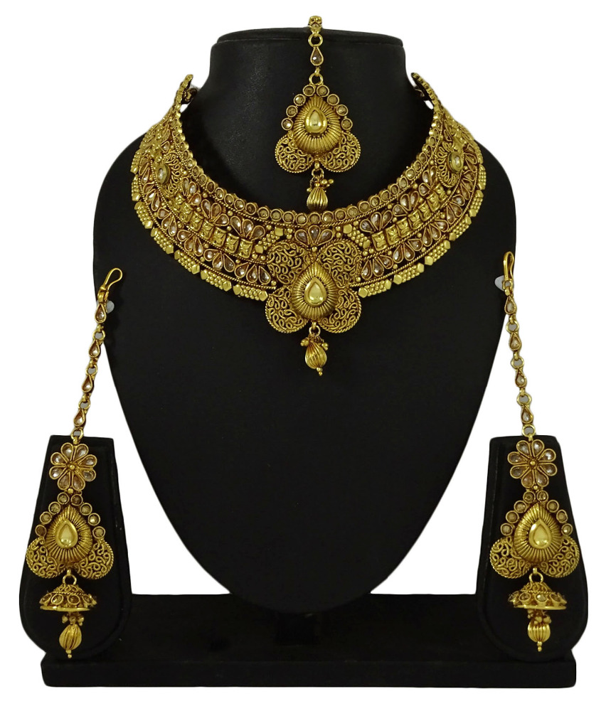 Goldtone Traditional Indian Women Bridal Wedding Necklace Set Party Jewelry IMSM-BNS23A