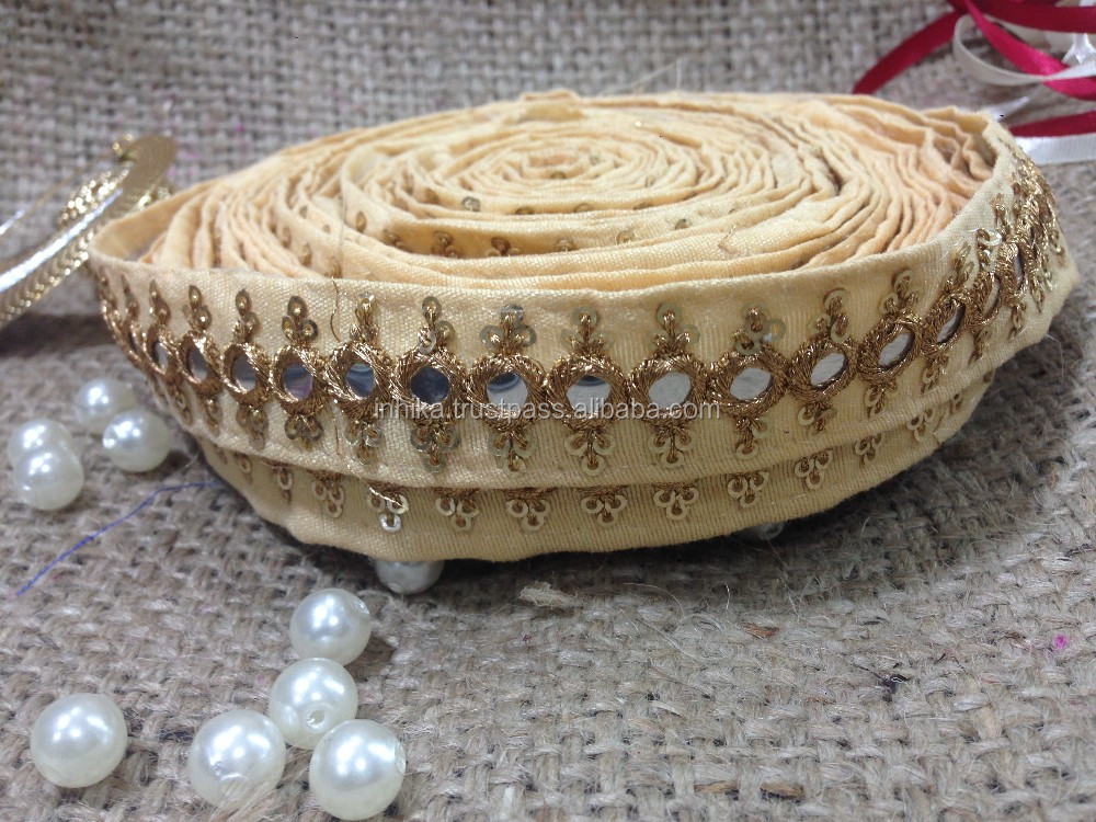 9mtr border lace trim, beige base, faux mirror, embroidery gold sequins, saree