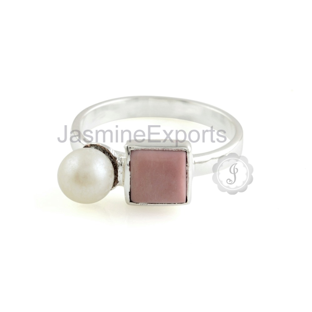 Wholesale Pink Opal & Pearl Gold Plated Silver Ring