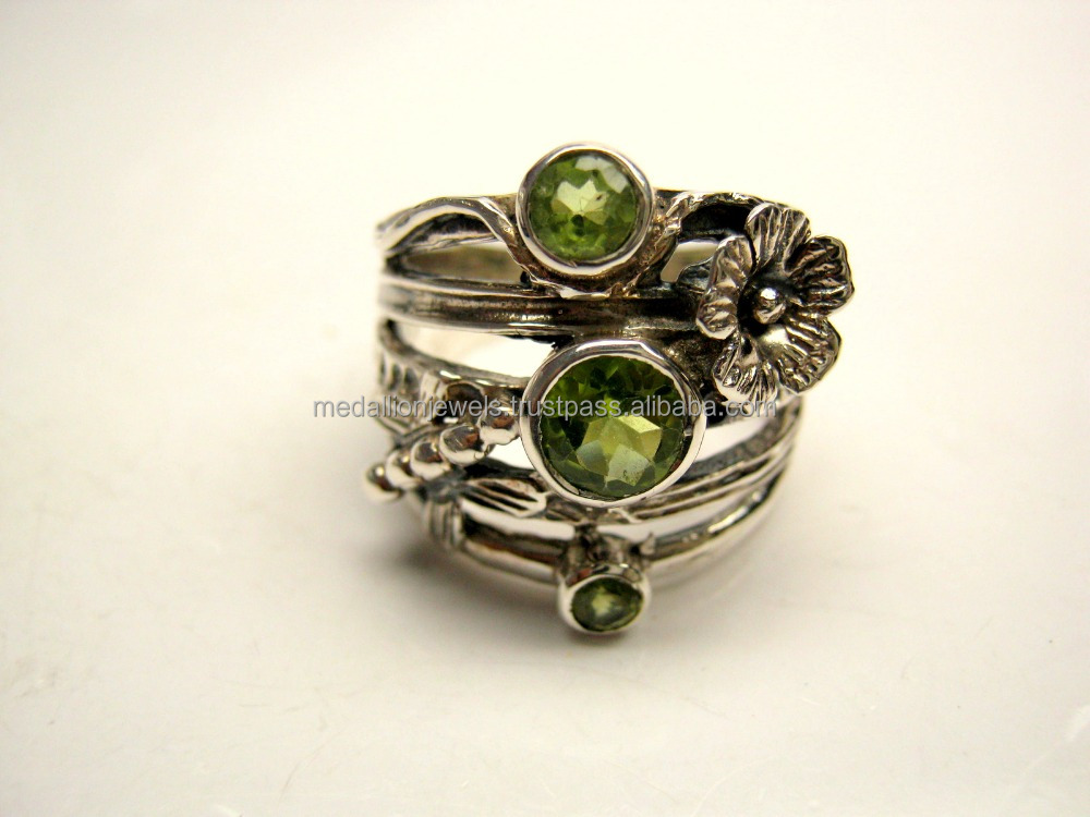 Peridot 925 Sterling Silver Textured Oxidized Jewelry, Light Green Gemstone Ring, Designer 925 Indian Silver Handmade Jewellery