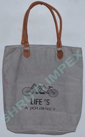 INDIAN TOTE BAG CANVAS COTTON HANDMADE & LEATHER HANDLE SHOULDER BAG SICB-616G