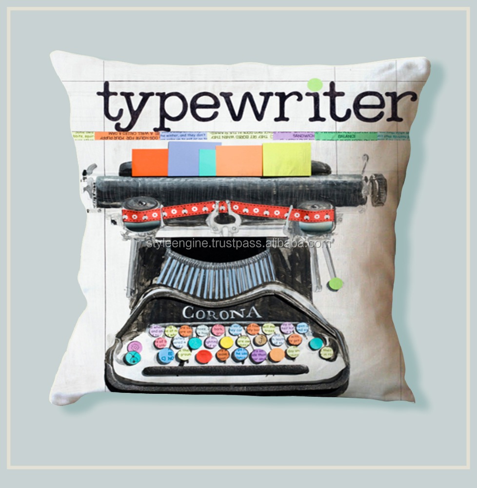 COLORFUL TYPEWRITER DIGITAL PRINTED COTTON CUSHION COVER