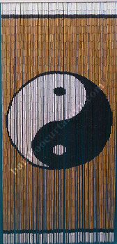 Super installation bamboo beads curtain painted ying and yang