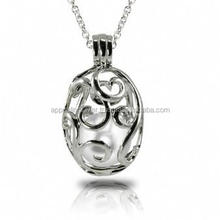 925 sterling silver pearl gemstone cage pendant