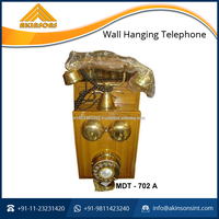 Brass Wood Wall Hanging Telephone For