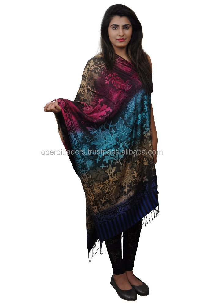 Indian Shawls Stoles 100% Pure Wool Embroidered Cashmere Printed Best Quality from India