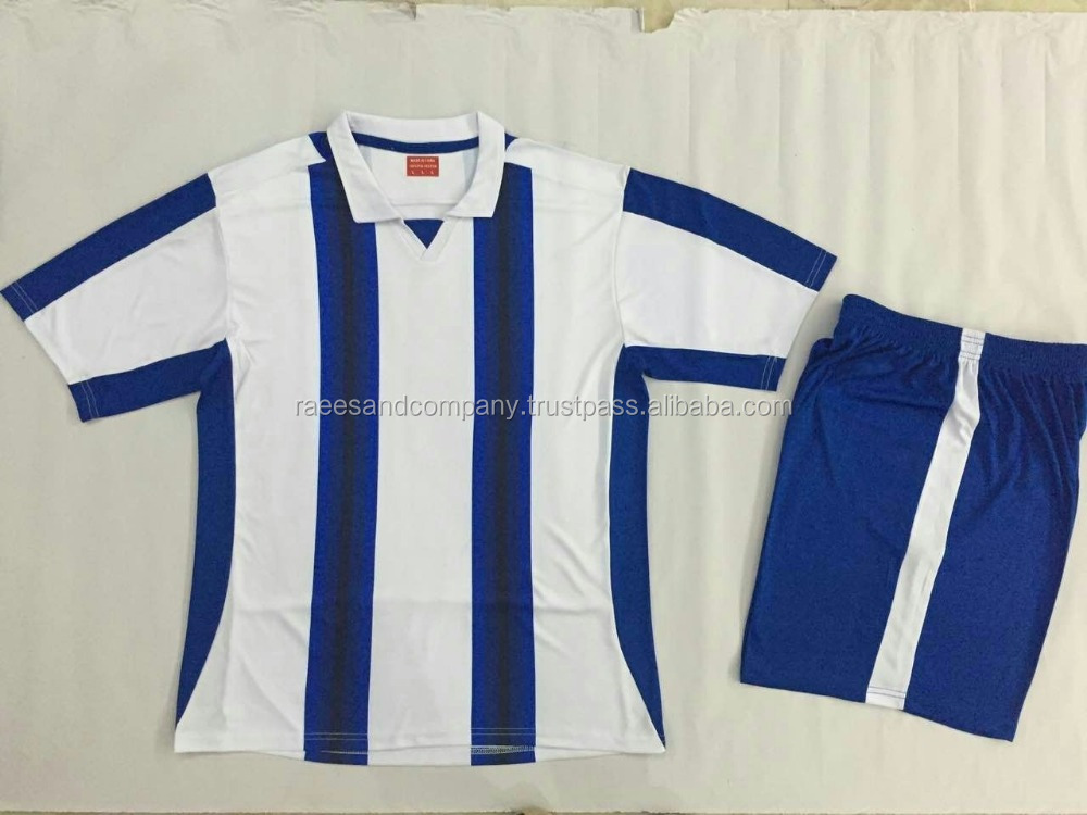 soccer uniform white with blue colors made in 100% polyester / customized team logo / name and numbers