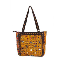 Indian Vintage Women Handmade Embroidery Mirror Work Yellow Hand Shopping Bag