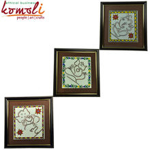Copper Wire Art Wall Mural Decor - Indian Lord Ganesha - Set of 3 Copper Wire Wall Hanging Decor - Madhubani Painting