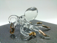Crystal Octopus / Squid Hand Blown Clear Glass Art Gold Trim Figurines Home Decor / Sea Ocean animals Collection / Gift